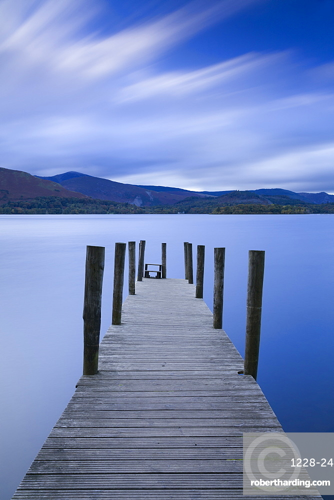 Twilight descends over the Watendlath jetty on Derwent Water, Lake District National Park, Cumbria, England, United Kingdom, Europe