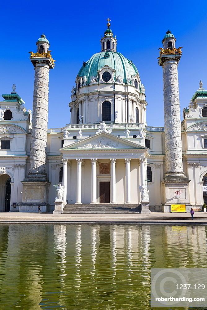 Karlskirche (St. Charles Church), baroque architecture, Karlsplatz, Vienna, Austria, Europe