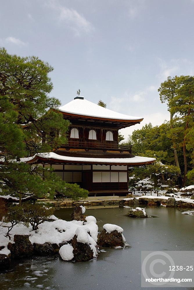 Snow-covered Silver Pavilion, Ginkaku-ji Temple, Kyoto, Japan, Asia
