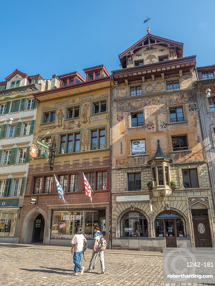 Traditional painted buildings in city center, Lucerne, Switzerland, Europe