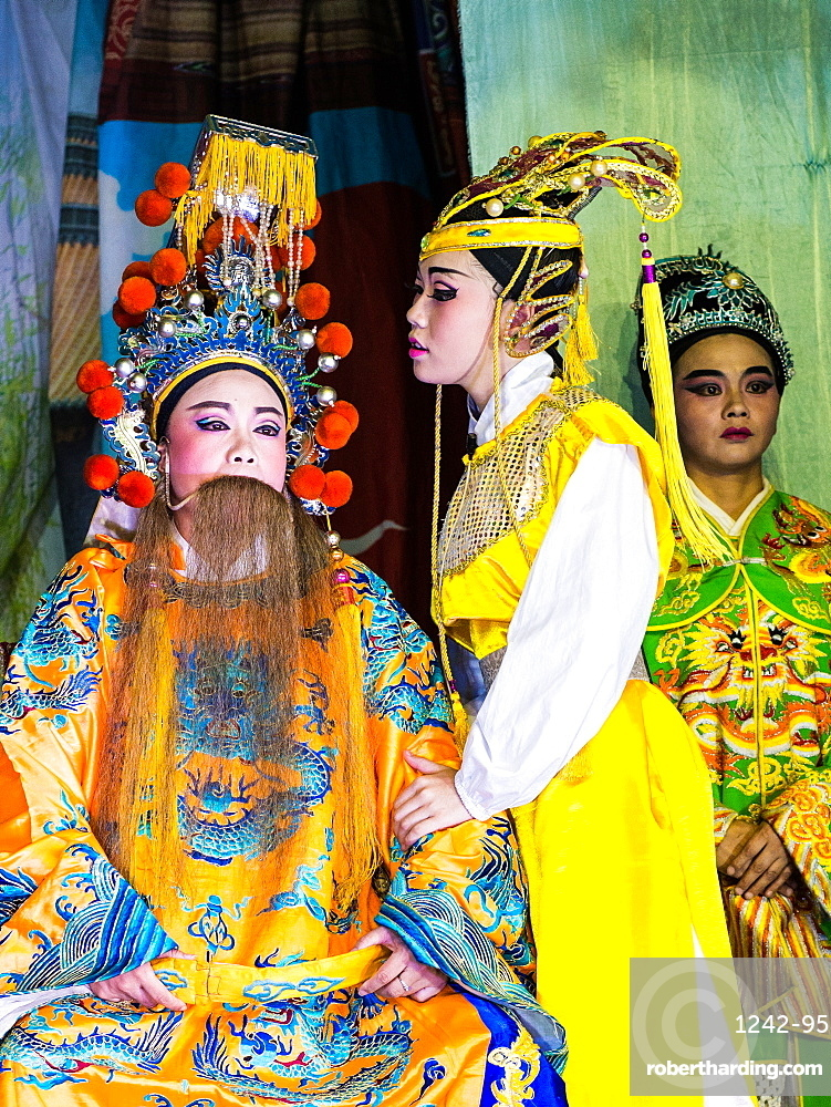 Chinese opera performers, Hungry Ghost Festival. Georgetown, Penang, Malaysia, Southeast Asia, Asia