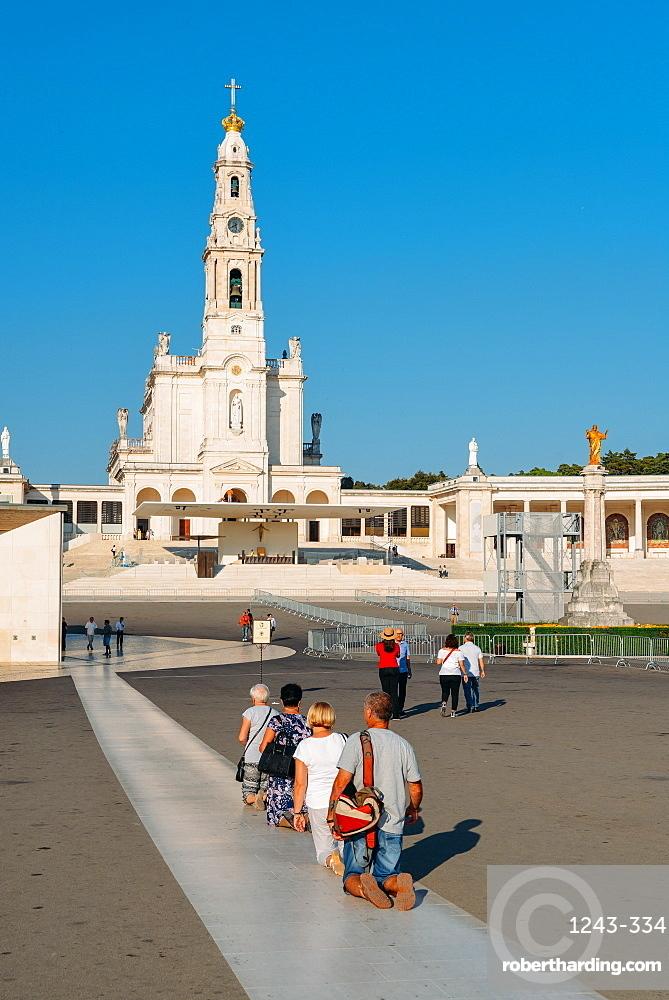 Religious pilgrims at the Sanctuary of Fatima (Basilica of Our Lady of Fatima), Portugal, Europe