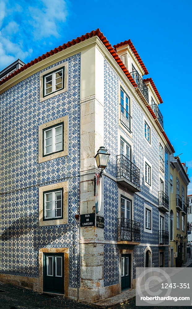 Traditional azulejo tiles on a building facade, Alfama, Lisbon, Portugal, Europe