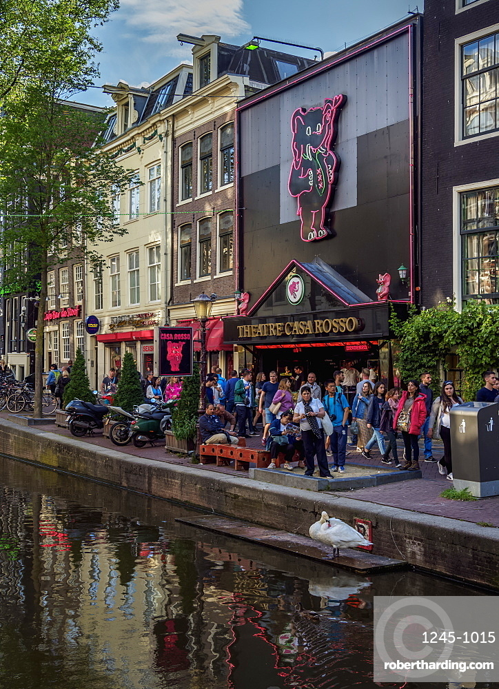 Casa Rosso Theatre, Red Light District, Oudezijds Achterburgwal Canal, De Wallen, Amsterdam, North Holland, The Netherlands, Europe