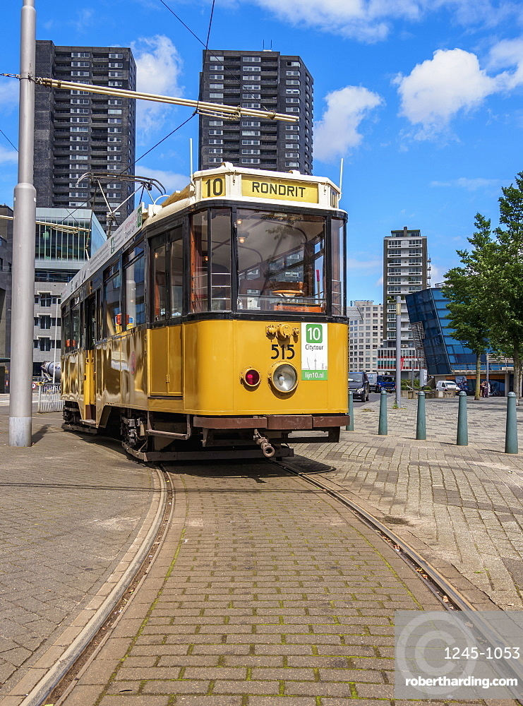 Vintage Tram in Rotterdam, South Holland, The Netherlands, Europe