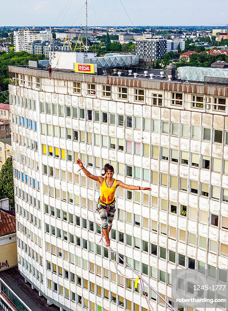 Highlining over Wieniawska Street, Urban Highline Festival, Lublin, Lublin Voivodeship, Poland