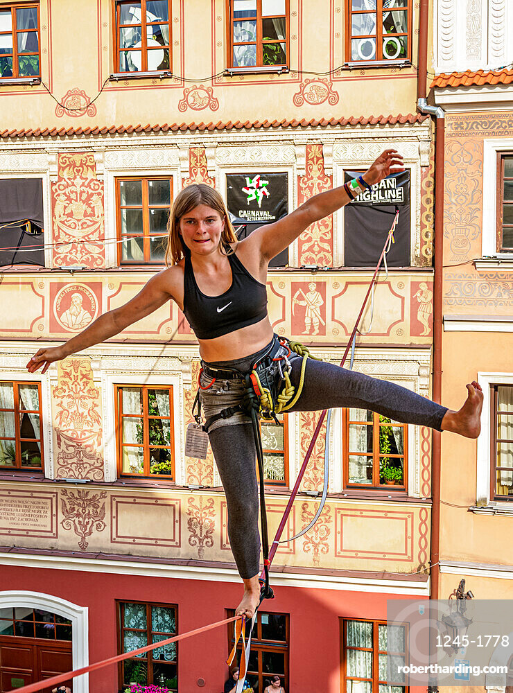 Highline Yoga at the Old Town Market Square, Urban Highline Festival, Lublin, Lublin Voivodeship, Poland
