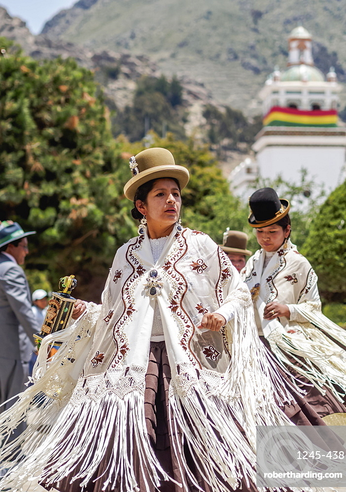 Dancers in traditional costume, Fiesta de la Virgen de la Candelaria, Copacabana, La Paz Department, Bolivia, South America