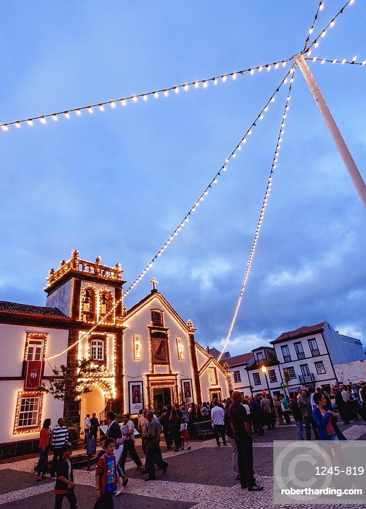 Convent of St. Francis and Church of Nossa Senhora das Vitorias, twilight, Vila do Porto, Santa Maria Island, Azores, Portugal, Atlantic, Europe
