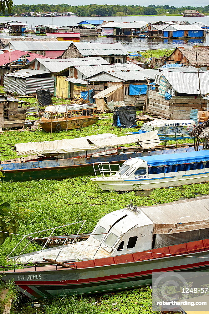 Floating houses in Iquitos, Peru, South America