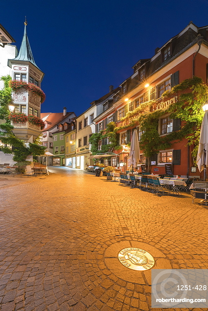 Square in the Upper Town at dusk, Meersburg, Baden-Wurttemberg, Germany, Europe
