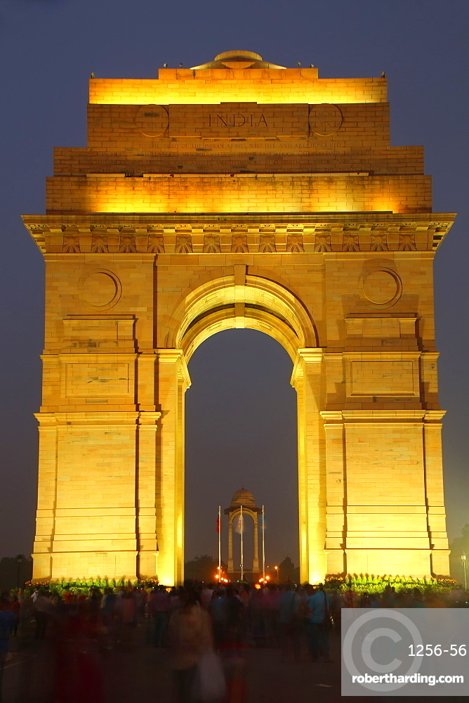 India Gate at night, New Delhi, India, Asia
