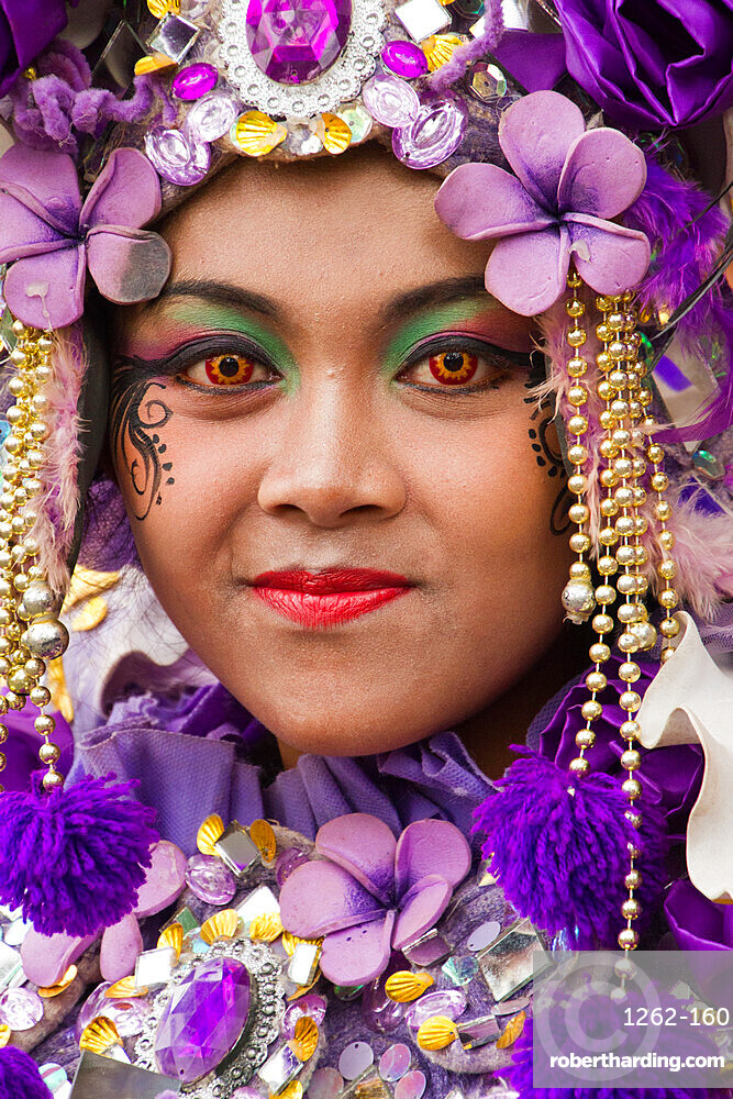 Indonesian woman of a carnival celebrating Malang?s 101st year anniversary, Malang, Indonesia