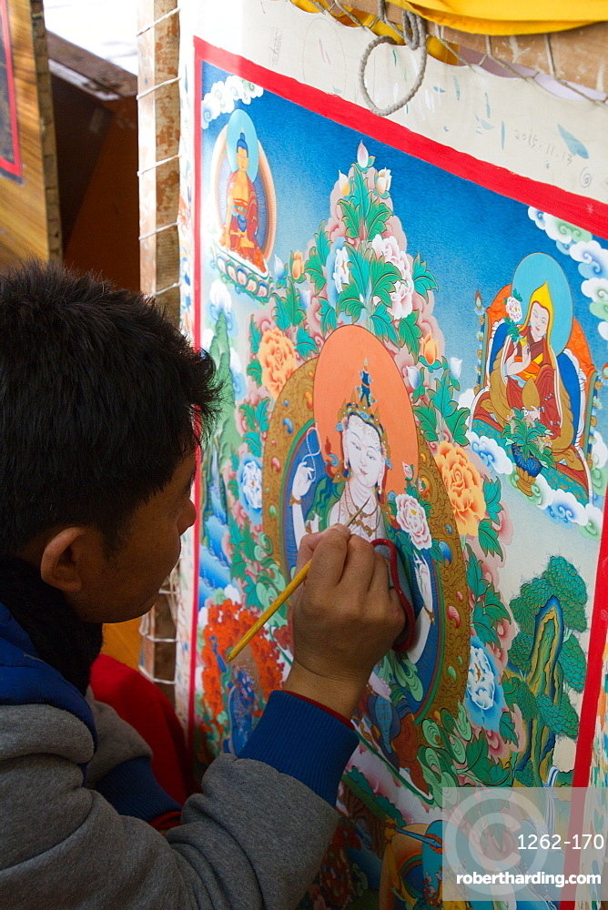 Thangka painting at the Norbulingka Tibetan institute of Tibetan arts and culture, Dharamsala, India