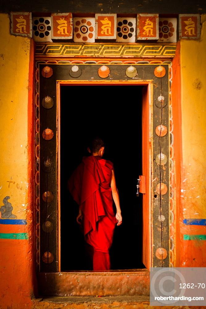 Novice Buddhist monk of Rinpung Fortress Monastery, Paro, Bhutan, Asia