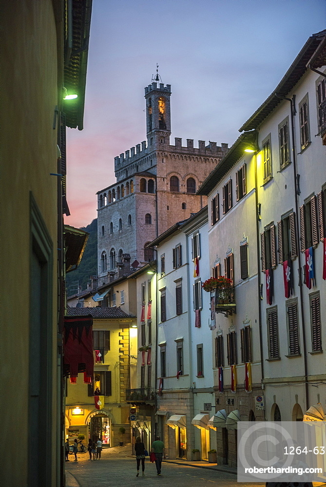 Consoli's Palace after sunset, Gubbio, Umbria, Italy, Europe
