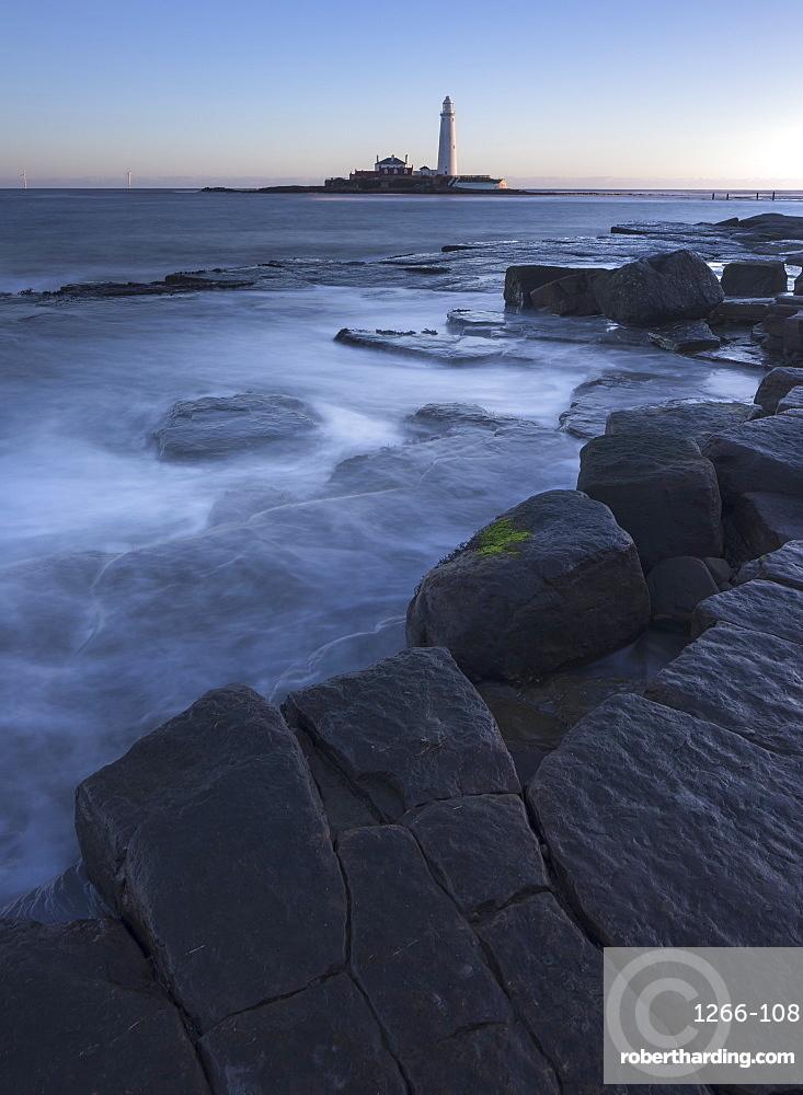 St Marys Lighthouse on St Marys Island at Whitley Bay, North Tyneside, UK