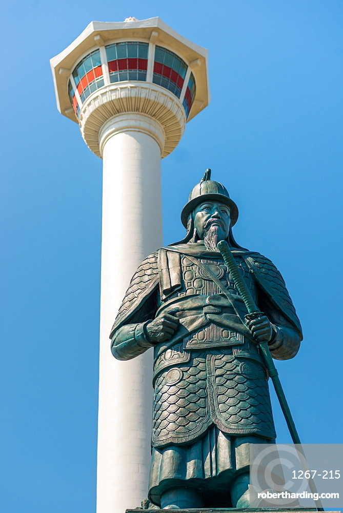 Busan Tower and statue of Admiral Yi Sun-shin at Yongdusan Park, Busan, South Korea, Asia