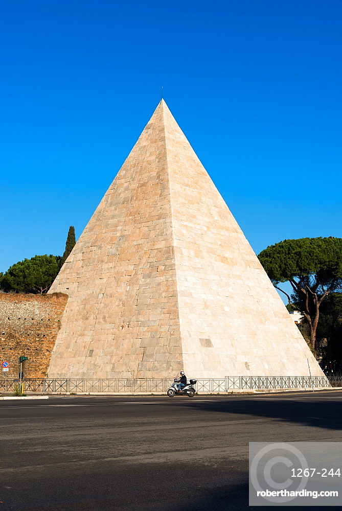 The Pyramid of Caius Cestius, an ancient pyramid, near the Porta San Paolo and the Protestant Cemetery, Rome, Lazio, Italy, Europe