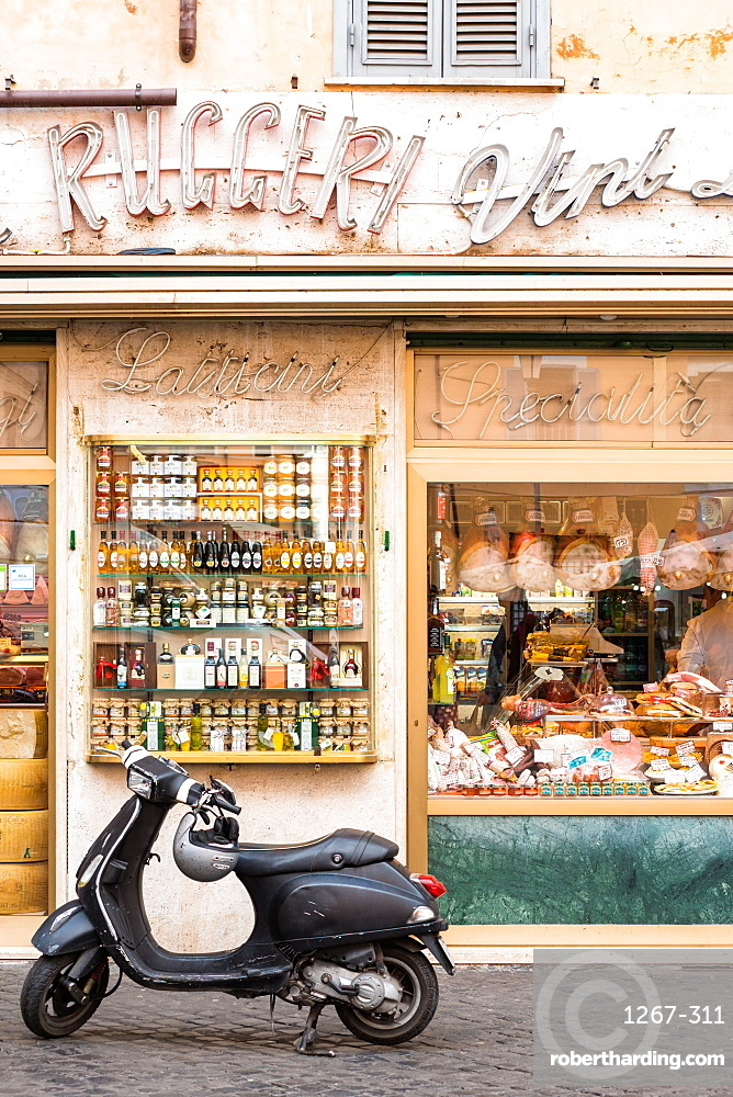 Traditional grocery store with scooter at Campo de' Fiori square, Rome, Lazio, Italy, Europe