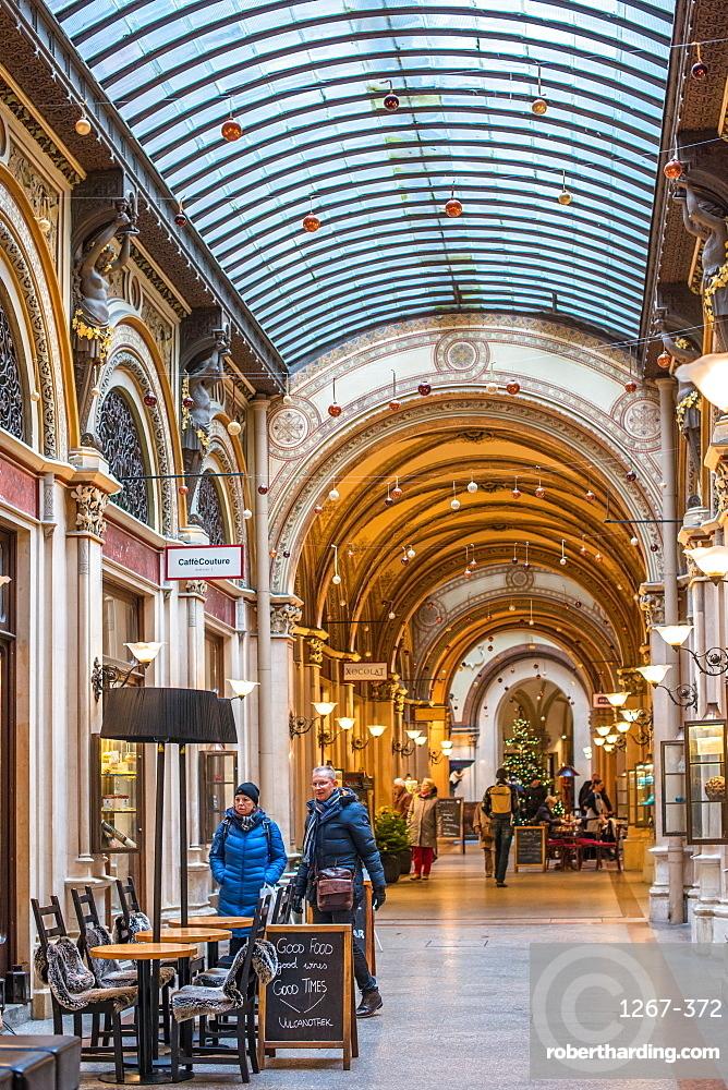 Cafes and shops in the Freyung Passage, Palais Ferstel, Herrengasse street, Innere Stadt, Vienna, Austria.
