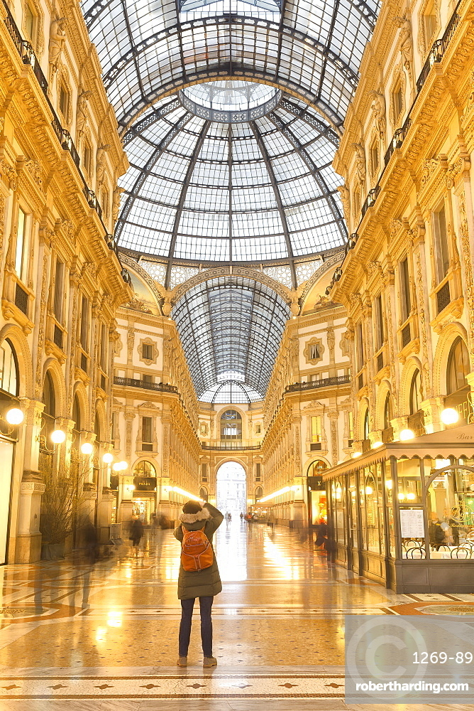 Morning scene of Galleria Vittorio Emanuele II, Milan, Lombardy, Northern Italy, Italy, Europe