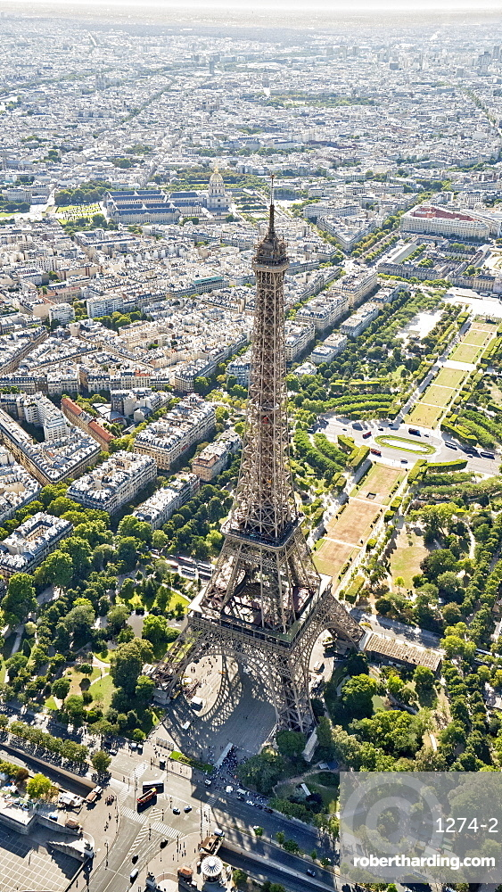 Aerial view of the Eiffel Tower, Paris, France, Europe