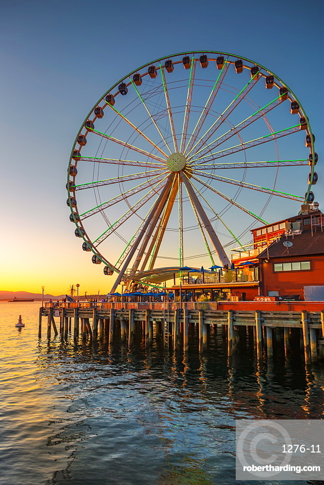 Seattle's Great Wheel on Pier 57 at golden hour, Seattle, Washington State, United States of America, North America