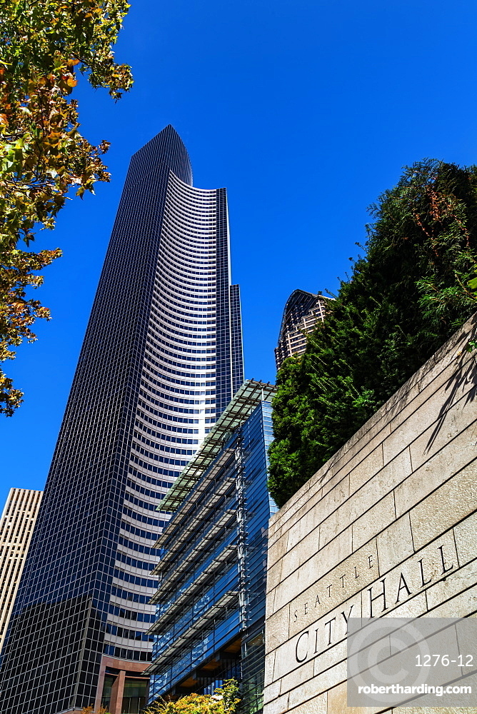 Seattle City Hall, Columbia Center Building and ATT Gateway Tower, Seattle, Washington State, United States of America, North America