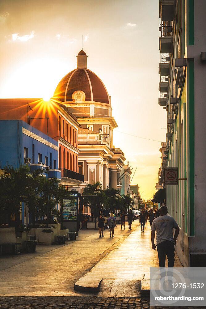 Antiguo Ayuntamiento, government building at sunset, UNESCO World Heritage Site, Cienfuegos, Cuba, West Indies, Caribbean