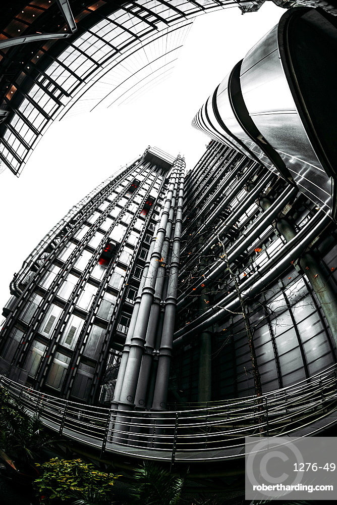 Fisheye view of Lloyds and The Leadenhall Buildings, financial district, City of London, England, United Kingdom, Europe