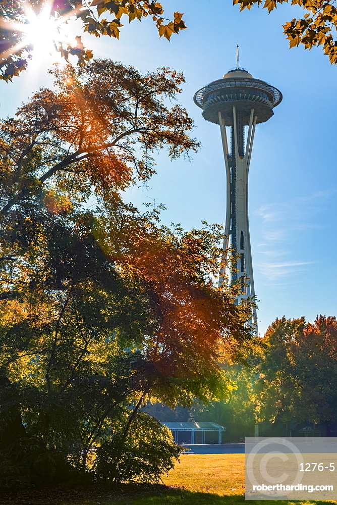 Space Needle from Seattle's International Fountain park in autumn, Seattle, Washington State, United States of America, North America