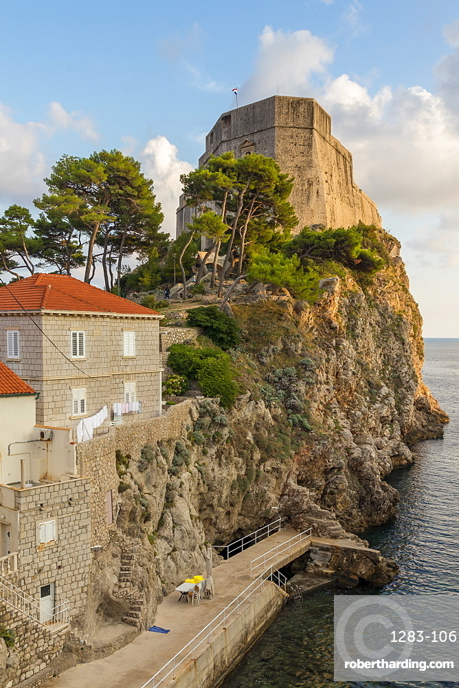 The Lovrijenac Fortress (St. Lawrence Fortress) outside the old town of Dubrovnik at sunset, Croatia, Europe