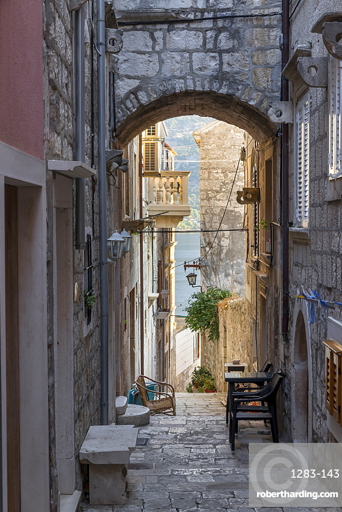 Narrow street in the old town of Korcula Town, Croatia, Europe