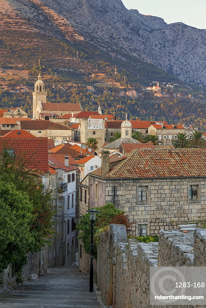 View to the old town of Korcula Town at sunset, Korcula, Croatia, Europe