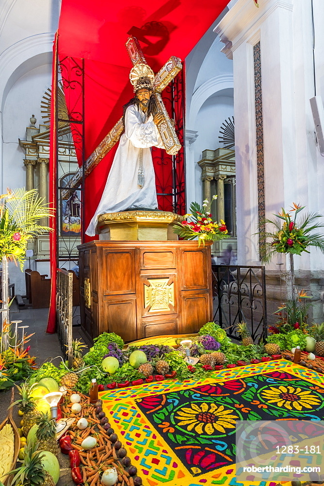 Vigil on Holy Thursday during the Holy Week 2017 inside the Cathedral San Jose in Antigua, Guatemala, Central America