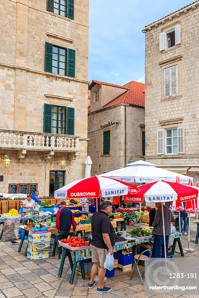 Local market in a small square in the old town of Dubrovnik, Croatia, Europe