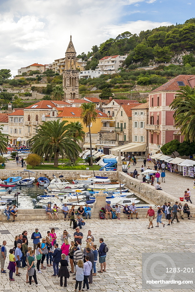 Elevated view over the port of Hvar Town, Hvar, Croatia, Europe