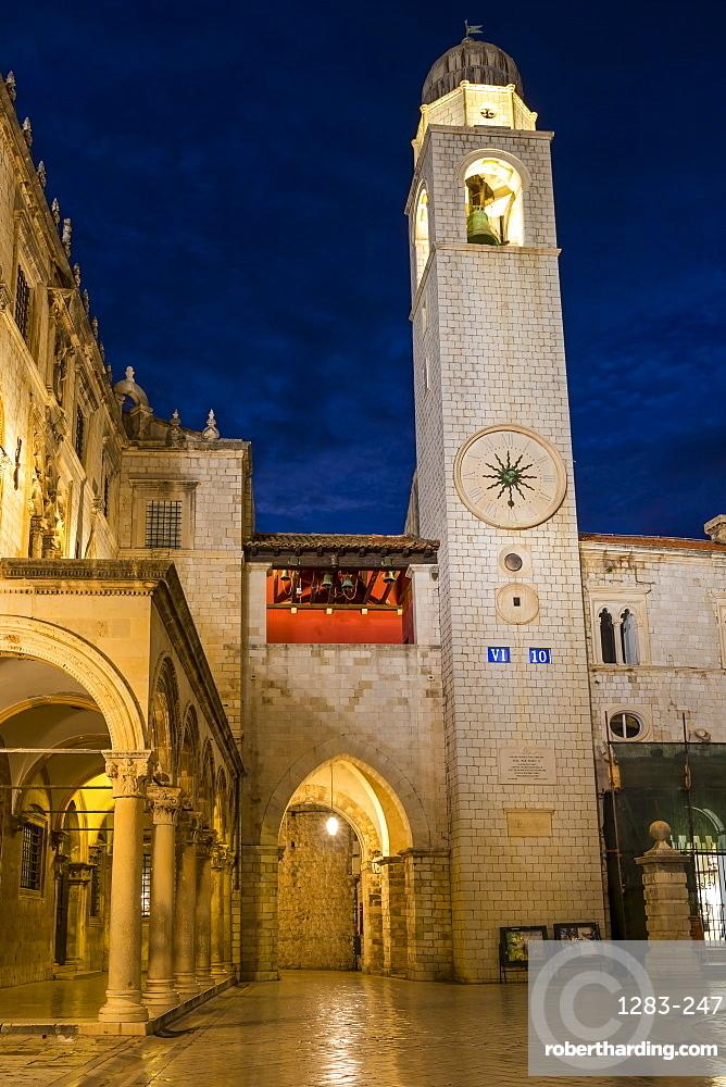 The clock tower at Stradun inside the old town of Dubrovnik at dawn, Dubrovnik, Croatia, Europe