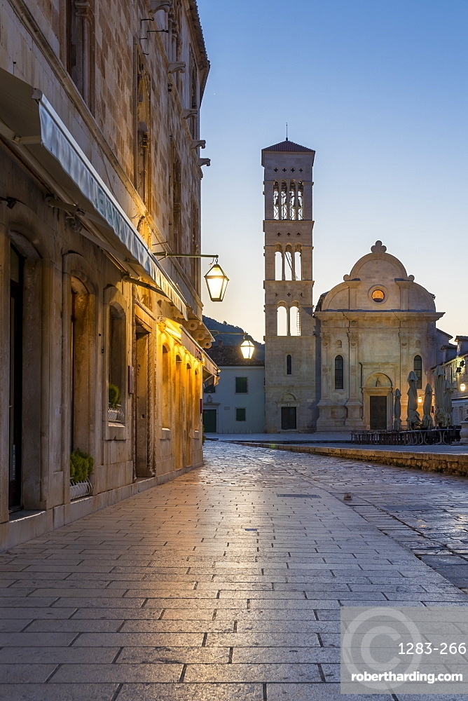 Saint Stephen Church on the main square of Hvar Town at dawn, Hvar, Croatia, Europe