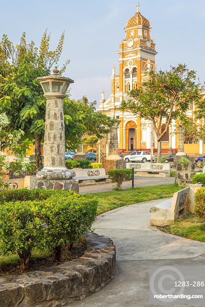 The Xalteva Church seen from Xalteva Park in Granada, Nicaragua, Central America