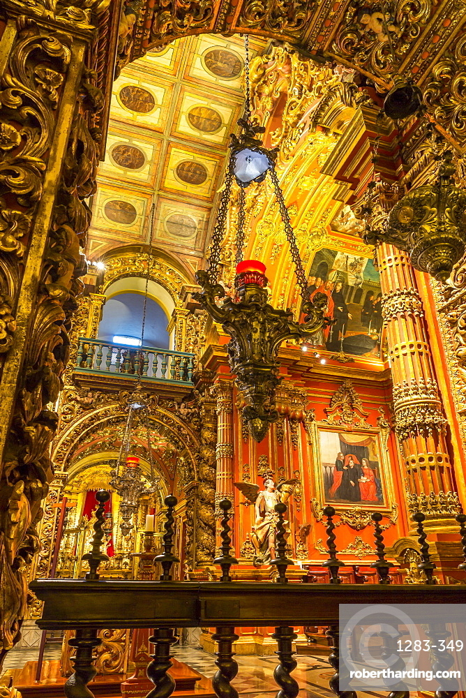 Interior of the church at Monastery Sao Bento, Rio de Janeiro, Brazil, South America