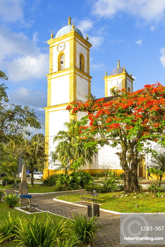 Cathedral at the main square of Sao Francisco do Sul, Santa Catarina, Brazil, South America