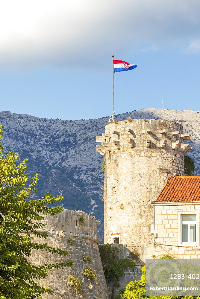 A watchtower in the old town of Korcula Town, Croatia, Europe