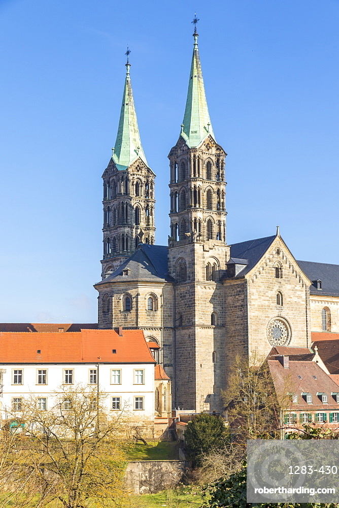 View to the cathedral of Bamberg, Upper Franconia, Bavaria, Germany, Europe