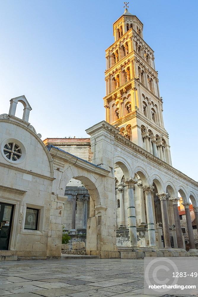 Sveti Duje Cathedral in Split at first light, Split, Croatia, Europe