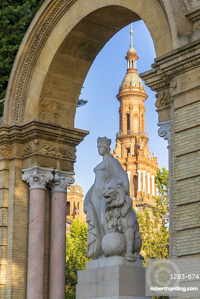 Northern Tower of Plaza de Espana, Seville, Andalusia, Spain, Europe