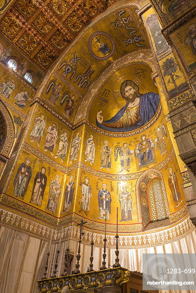 Interior of Monreale Cathedral, Monreale, Palermo, Sicily, Italy, Europe