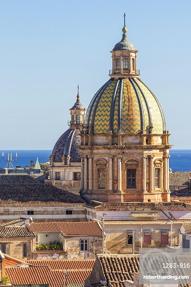 Cupolas of the San Giuseppe dei Padri Teatini and the Santa Caterina churches, Palermo, Sicily, Italy, Europe