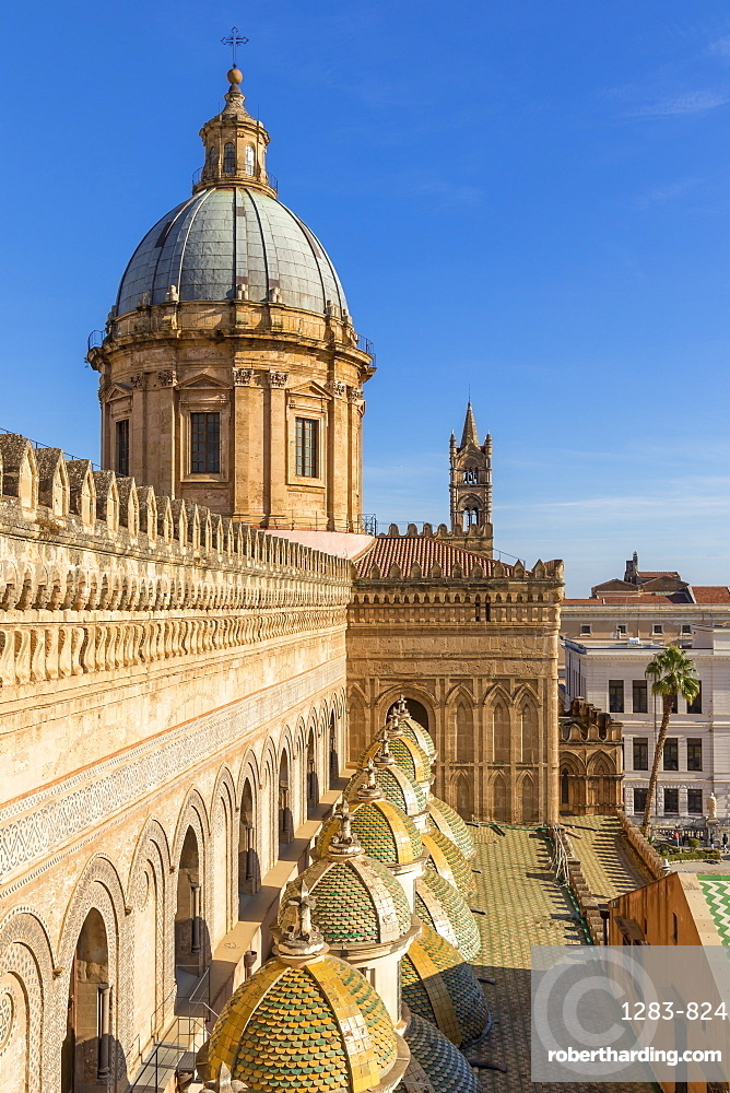 Cupola of the Palermo Cathedral (UNESCO World Heritage Site) seen from the rooftop, Palermo, Sicily, Italy, Europe
